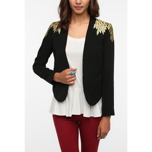 Urban Outfitters Embroidered Leaves Blazer S Small